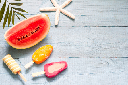 Summer abstract banner travel vacation background with ice cream and watermelon Foto de archivo