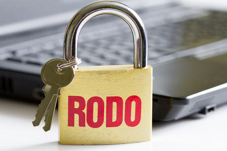 Rodo personal data protection concept with padlock and laptop Stock Photo