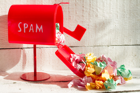 Full red mailbox of spam problem abstract on white background