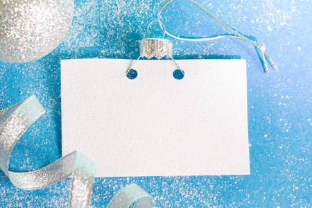 Christmas and New Year's card decoration blue abstract background concept