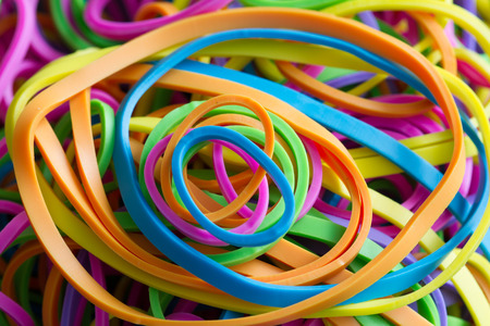 Rubber band colorful abstract background texture closeup