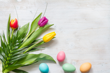 Easter colorful spring tulips with palm cross on white background