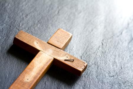 Empty cross with shadow of Jesus Christ abstract resurrection easter  concept Standard-Bild