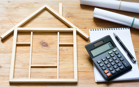 Remodeling construction home improvement with calculator and plans Stockfoto