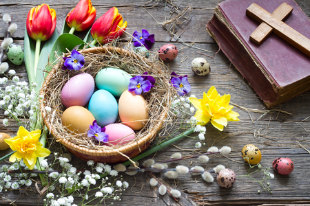 Easter colorful eggs in the nest Stockfoto