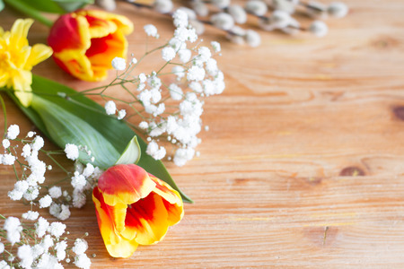Spring easter flowers decoration on wooden background with free space Stockfoto