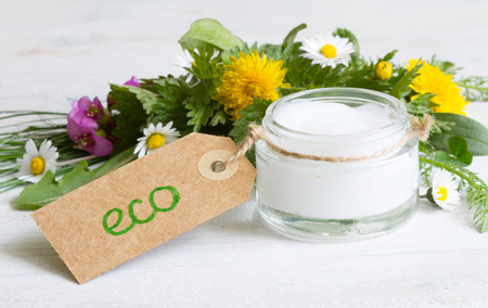 Natural cosmetics for skin care cream. Eco label with herbs and flowers Stockfoto