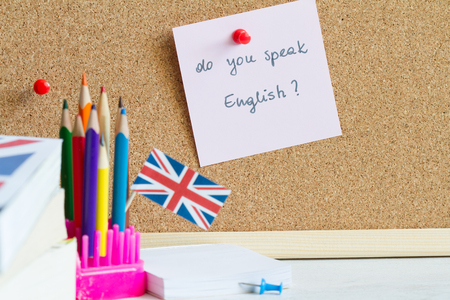 Learning and teaching English with British flag Stockfoto