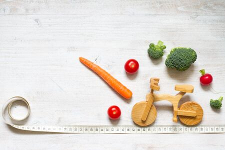 Healthy lifestyle vegetarian food on the bike abstract diet and sport concept Stock Photo