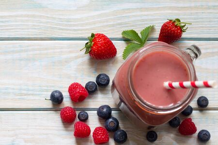 Berry smoothie with fresh fruits