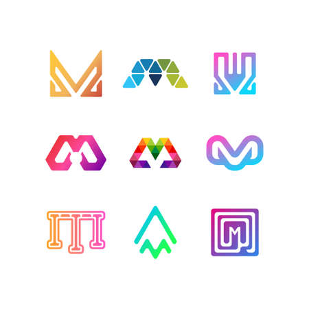 letter logo N color gradient full color vector template  イラスト・ベクター素材
