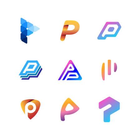 letter logo P full color gradient vector template