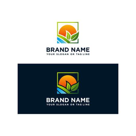 Plant logo design, river and sunshine vector template Иллюстрация
