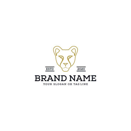 logo design female lion head vector template