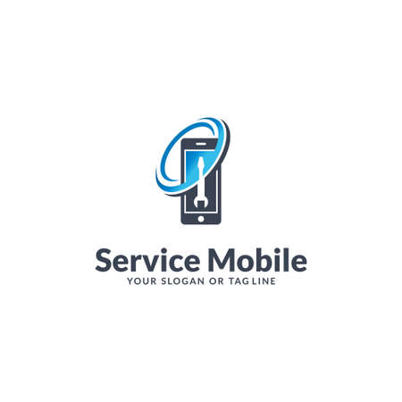 mobile logo design service vector template