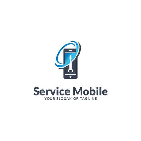 mobile logo design service vector template