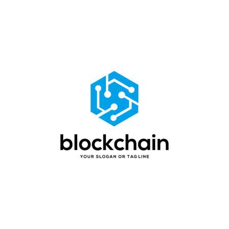 blockchain logo design vector template