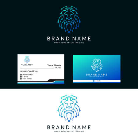 Premium amazing logo lion tech vector template