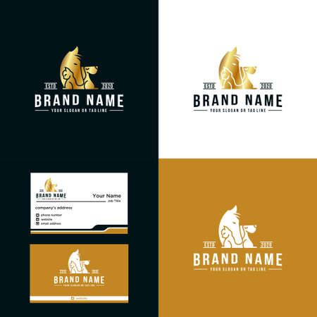 Premium, horse, cat and dog logo design luxury vector template