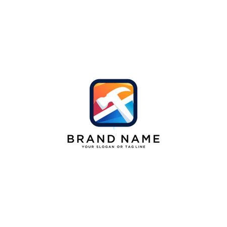 colorful hammer logo design vector template