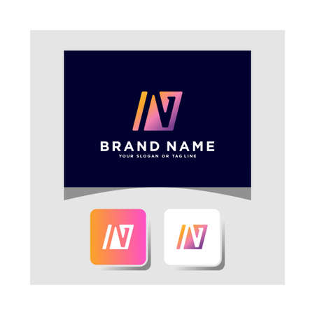 Colorful logo design letter N vector template Logo