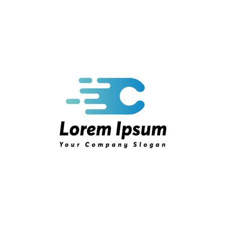 Fast letter c logo icon design vector template