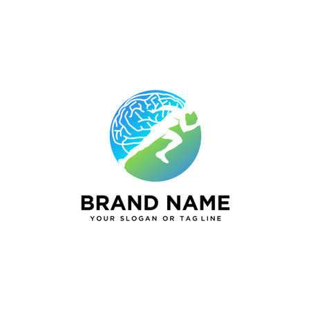 brain design logo and human running vector template