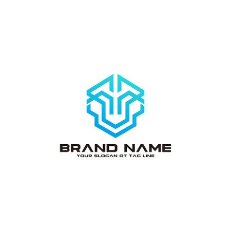 modern robot logo design vector template