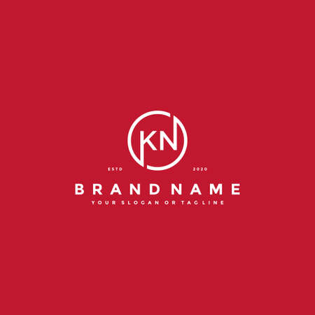Letter KN Logo design vector template