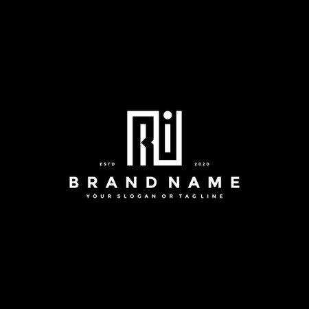 set letter RI logo design vector template Ilustrace