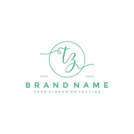 letter TZ Feminine logo design vector template