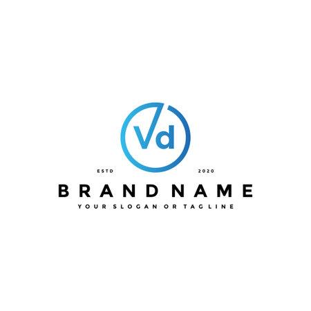 letter VD logo design vector template