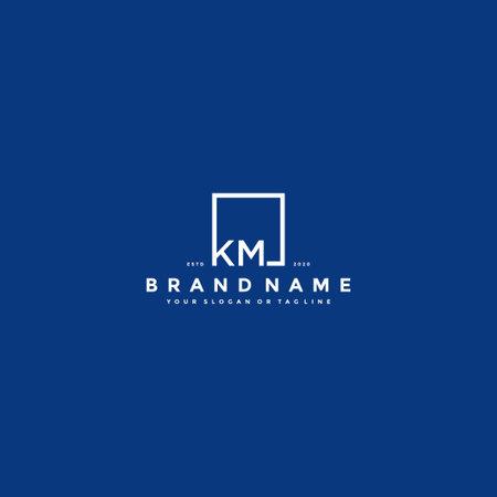 letter KM logo design vector template