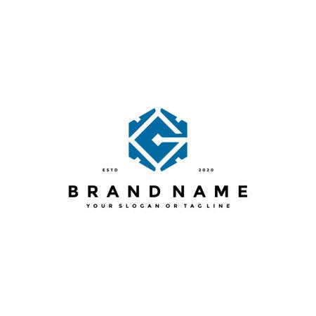 letter G tech logo design concept vector template