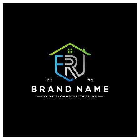 letter ER home logo design vector template