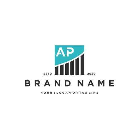 letter AP chart financial logo design vector template Logos