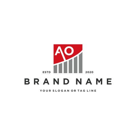 letter AO chart financial logo design vector template