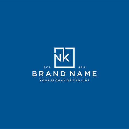 letter NK with a square design vector template