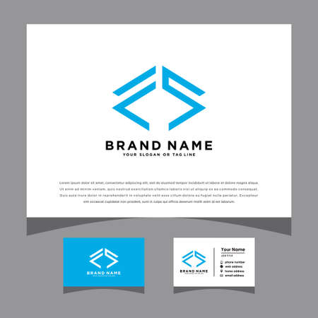 initials letter fs logo with a business card vector template