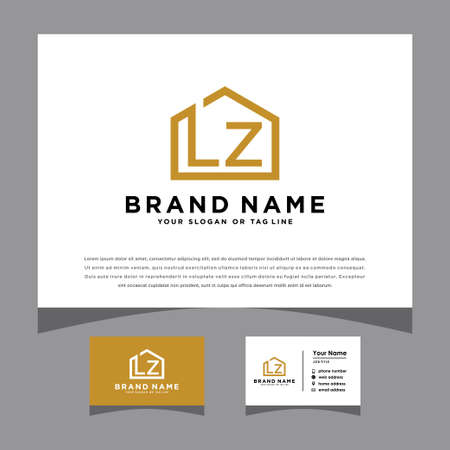 initials LZ logo with a business card vector template