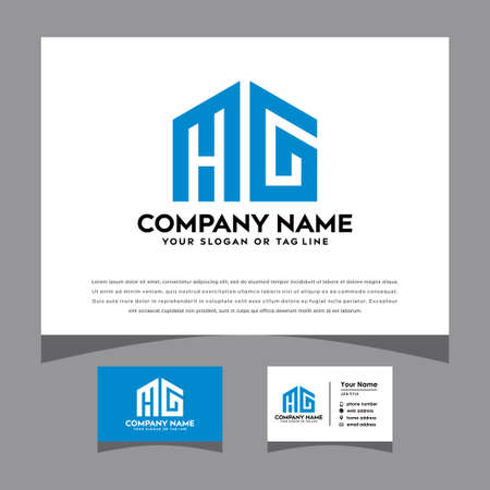 initials HG logo with a business card vector template Logó