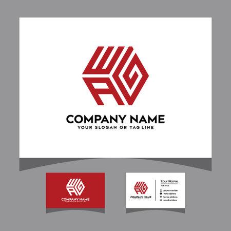 initials wag hexagon logo with a business card vector template Logó