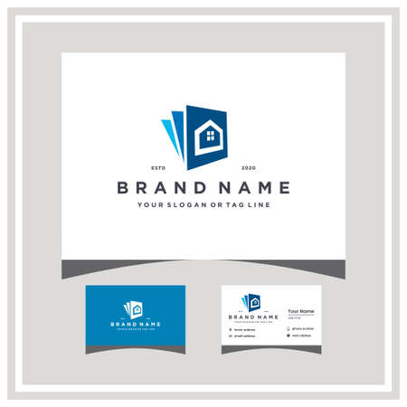 home document logo design with business card vector template