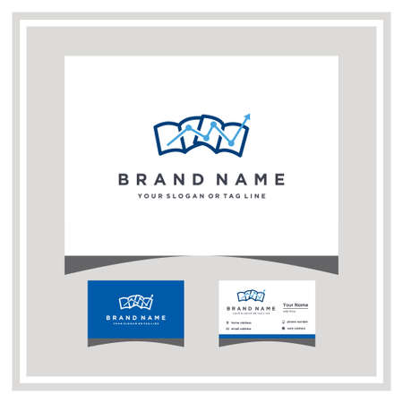 book finance logo design and business card vector template