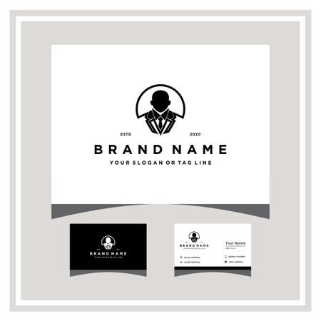 business man logo design and business card vector template