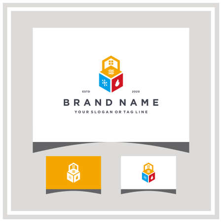 home heating ventilation logo and air conditioner vector logo design and business card vector template