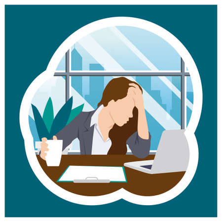 Stress people adult female sad and problem work vector illustration template