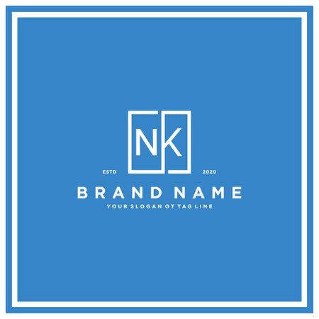 letter NK square logo design concept vector template