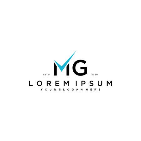 letter MG checklist logo design concept vector template