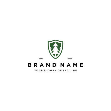 abstract pine tree and shield Logo design concept vector template 矢量图像